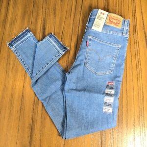 Levi's 720 high rise super skinny raw hem jeans